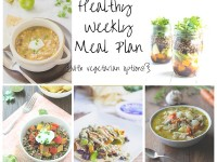A healthy weekly meal plan with printable grocery list. Featuring turkey soup, mason jar salads and roasted veggie quinoa bowls!