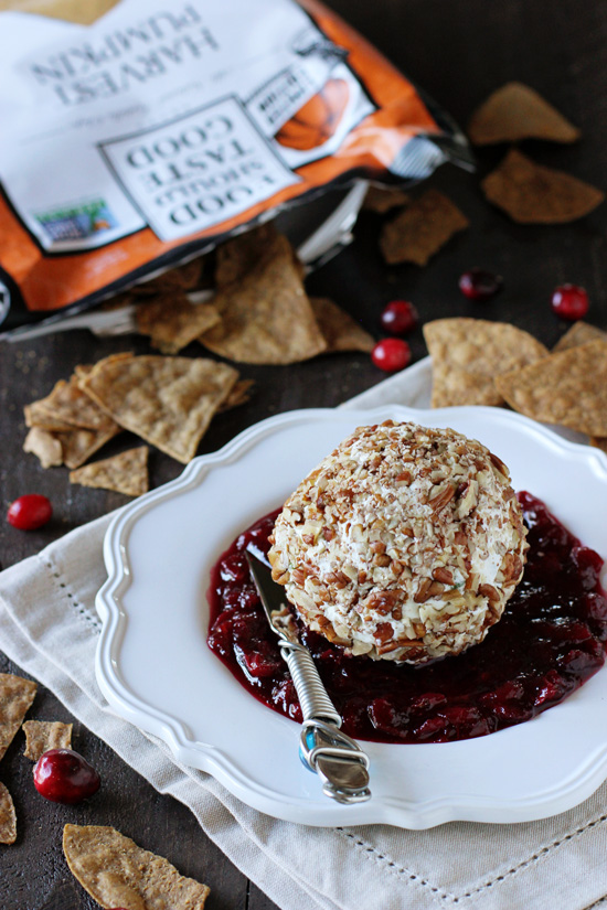 This maple pecan goat cheese with cranberry jam is a perfect fall appetizer recipe! With a quick homemade jam and a savory goat cheese ball rolled in plenty of pecans!