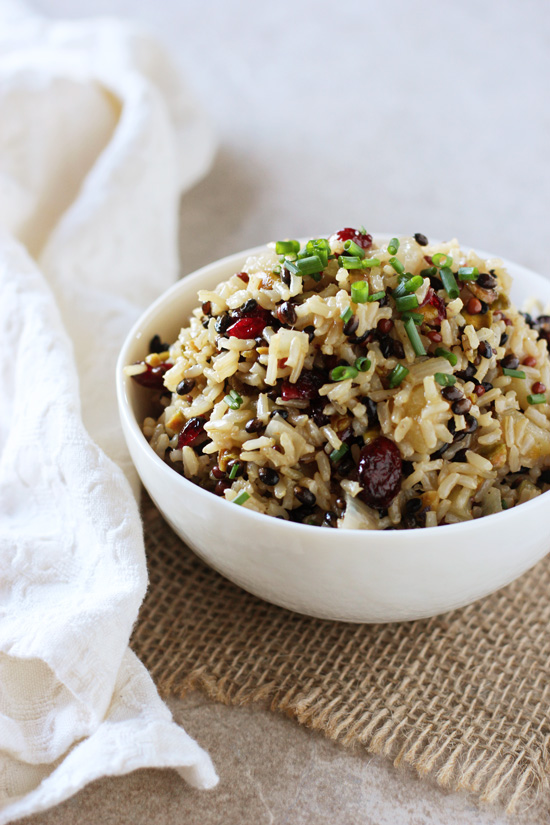Recipe for an easy, flavorful wild rice pilaf. With shallots, apple, dried cranberries and pistachios! Perfect for everyday or the holidays!