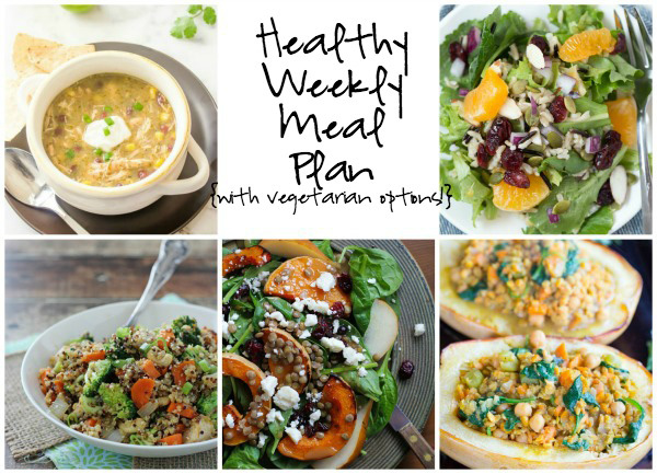 A healthy weekly meal plan with printable grocery list. Featuring quinoa chicken and broccoli, a few fantastic salads and tortilla soup!