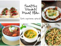A healthy weekly meal plan with printable grocery list. Featuring a sweet potato pasta skillet, veggie soup with quinoa and sweet potato chili.