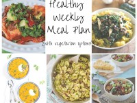 A healthy weekly meal plan with printable grocery list. Featuring crockpot chili, fajita enchiladas and a creamy tortellini skillet!