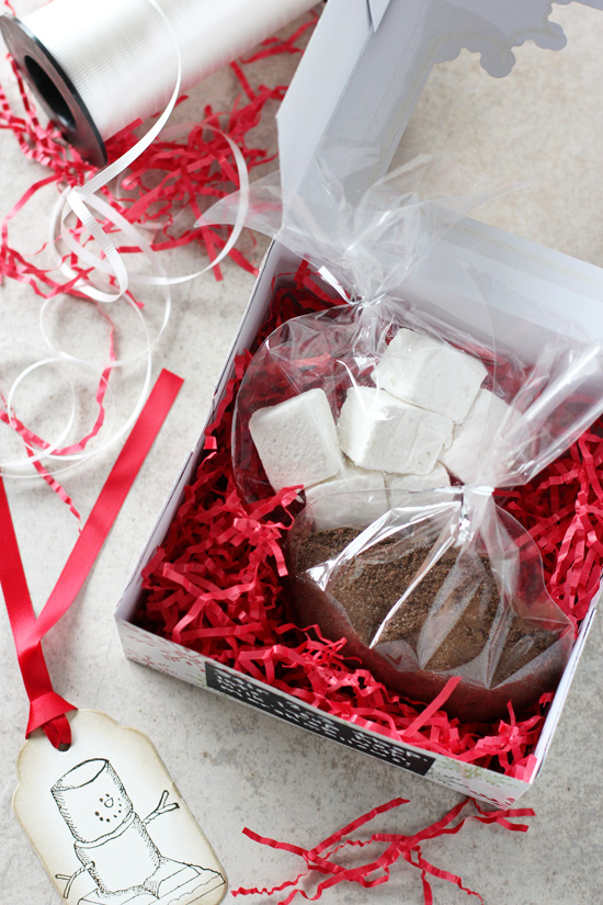 A Homemade Hot Chocolate Gift Package on a white surface with ribbon to the side.