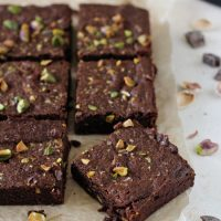Pistachio Dark Chocolate Whole Wheat Brownies