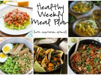 A healthy weekly meal plan with printable grocery list. Featuring weeknight thai curry, chicken fajita pasta and pork ramen bowls!