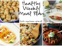 A healthy weekly meal plan with printable grocery list. Featuring 30 minute fish tacos, turkey chili and greek pita pockets!
