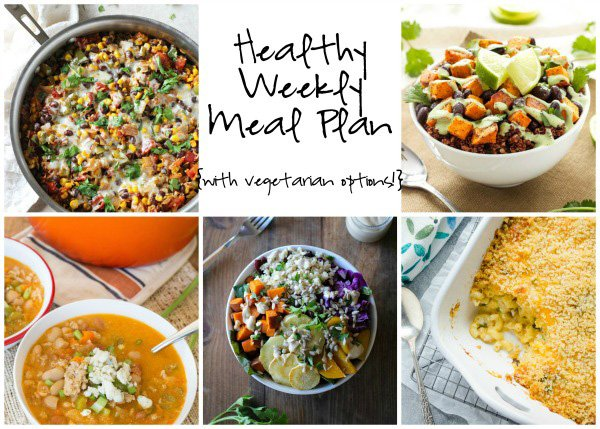 A healthy weekly meal plan with printable grocery list. Featuring skillet mexican rice casserole, veggie buddha bowls and buffalo chicken chili!