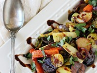 Flavorful and caramelized honey balsamic roasted vegetables! A simple and healthy side dish recipe filled with a variety of veggies!