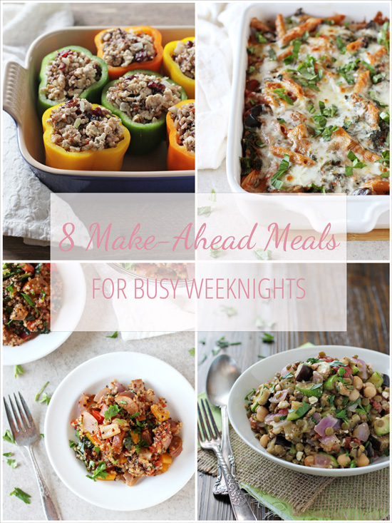 Easy and delicious make-ahead meals for busy weeknights! From flatbreads to cheesy pasta to cajun quinoa, these go-to recipes can all be made in advance!