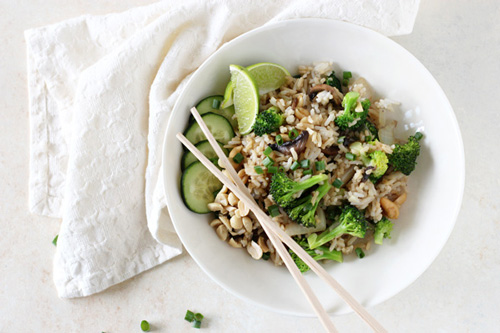 Thai Fried Rice with Broccoli and Mushrooms