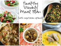 A healthy weekly meal plan with printable grocery list. Featuring veggie teriyaki stir-fry, one-pot jambalaya and strawberry salad!