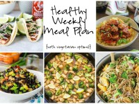 A healthy weekly meal plan with printable grocery list. Featuring broccoli noodle bowls, lemon chicken stir-fry and mushroom sausage pasta!