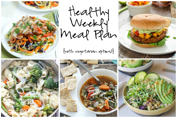 A healthy weekly meal plan with printable grocery list. Featuring lentil vegetable soup, spicy black bean burgers and thai chicken noodles!
