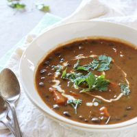 Creamy Sweet Potato and Black Bean Soup