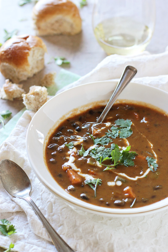 A simple and comforting recipe for sweet potato and black bean soup! With warm spices, a hint of smokiness and a creamy texture from sweet potatoes!