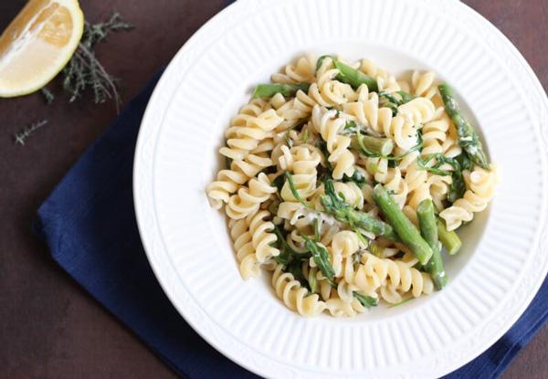 Fusilli with Asparagus, Peas, and Arugula