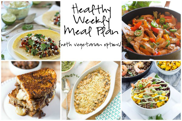A healthy weekly meal plan with printable grocery list. Featuring crockpot veggie tacos, thai basil chicken and grilled cheese sandwiches.