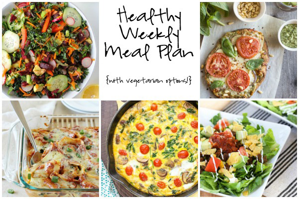 A healthy weekly meal plan with printable grocery list. Featuring easy taco salad, sweet potato stuffed shells and a primavera quiche!