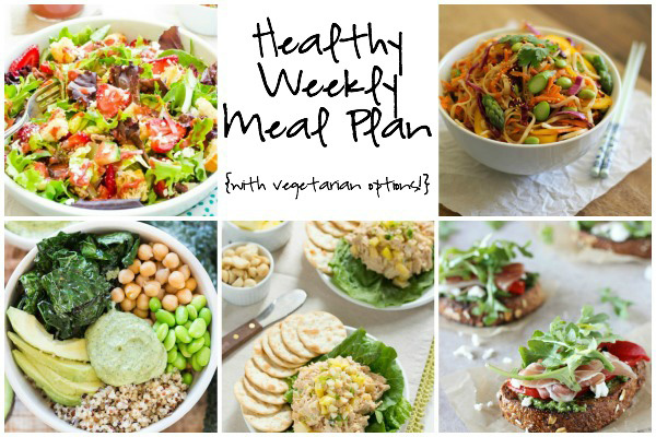A collage of five photos of the recipes in this week's healthy meal plan.