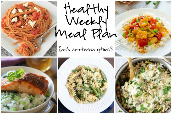 A healthy weekly meal plan with printable grocery list. Featuring a spring veggie casserole, goat cheese pasta and spicy orange shrimp teriyaki!