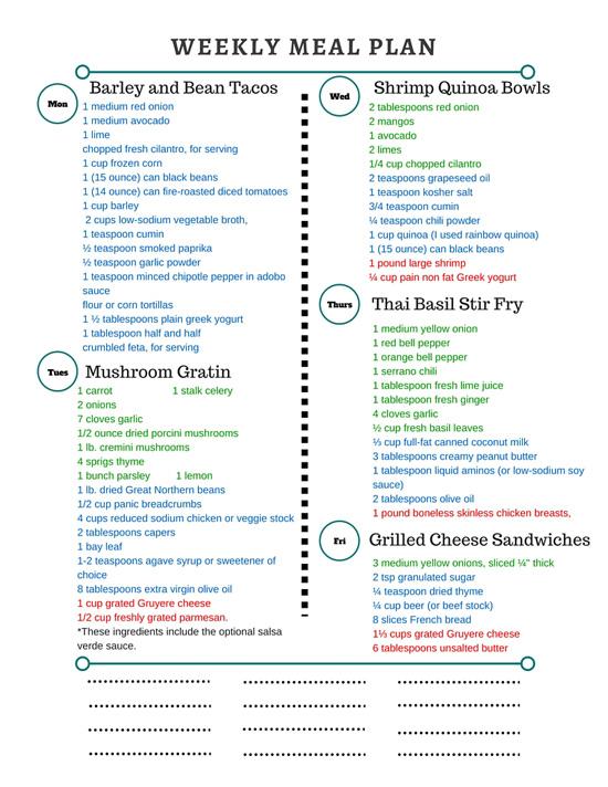 Healthy Weekly Meal Plan Grocery List – 3.12.16
