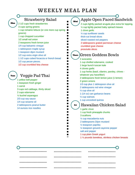 Healthy Weekly Meal Plan Grocery List – 3.26.16