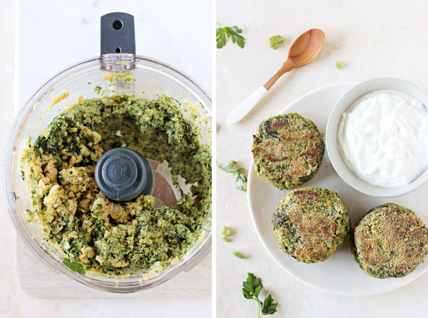 A food processor with falafel ingredients inside, plus a white dish with three Spinach Falafel and yogurt sauce.