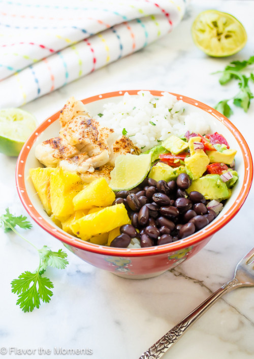 Fish Taco Bowls with Cilantro Rice and Grilled Pineapple