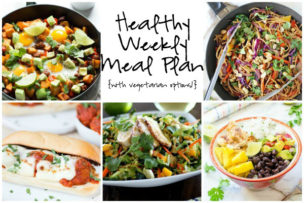 A healthy weekly meal plan with printable grocery list. Featuring thai chicken chopped salad, veggie lo mein and breakfast hash!
