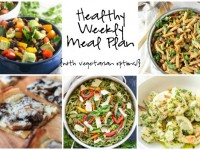 A healthy weekly meal plan with printable grocery list. Featuring a mexican bean salad, a sweet potato pasta skillet and cheesy mushroom flatbreads!