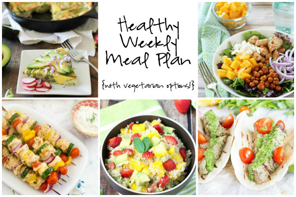 A healthy weekly meal plan with printable grocery list. Featuring a chickpea mango salad, cilantro steak tacos and an asparagus frittata!