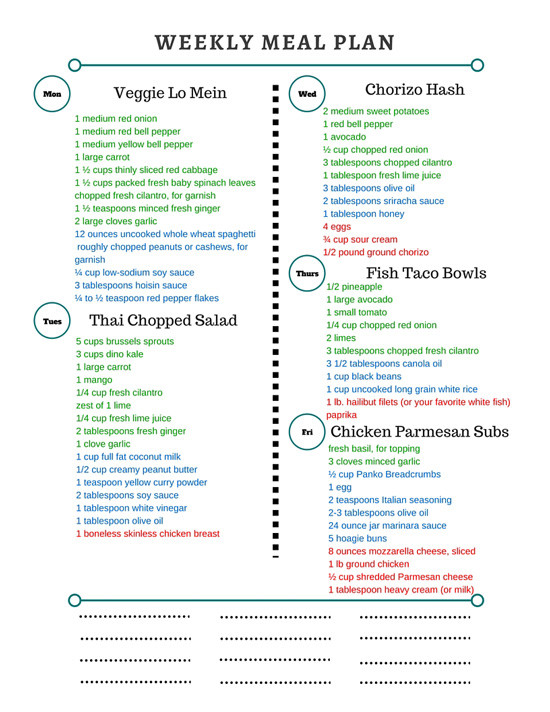 Healthy Weekly Meal Plan Grocery List – 4.16.16