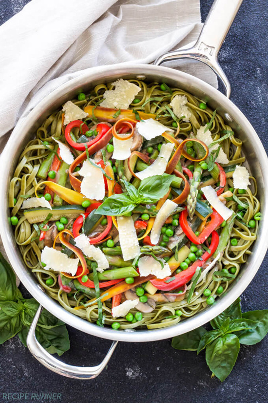 A skillet filled with Pasta Primavera.