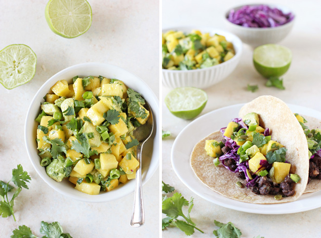 Simple and healthy black bean tacos with mango salsa! With smoky black beans, a sweet mango salsa and crunchy red cabbage! Colorful and fresh!