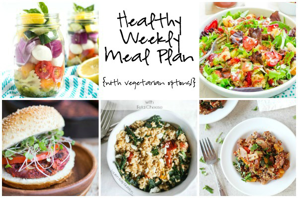 A collage of five photos of the dishes in this week's healthy weekly meal plan.