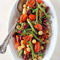 Roasted Three Bean Salad with Tomatoes