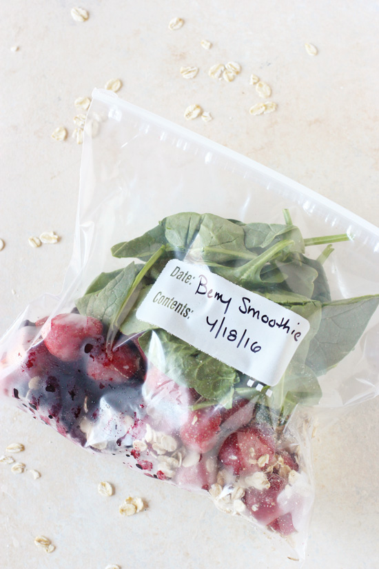 A Smoothie Freezer Pack filled with berries and spinach.
