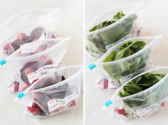 Two photos of Freezer Smoothie Packs - one with just berries and another with berries plus spinach.