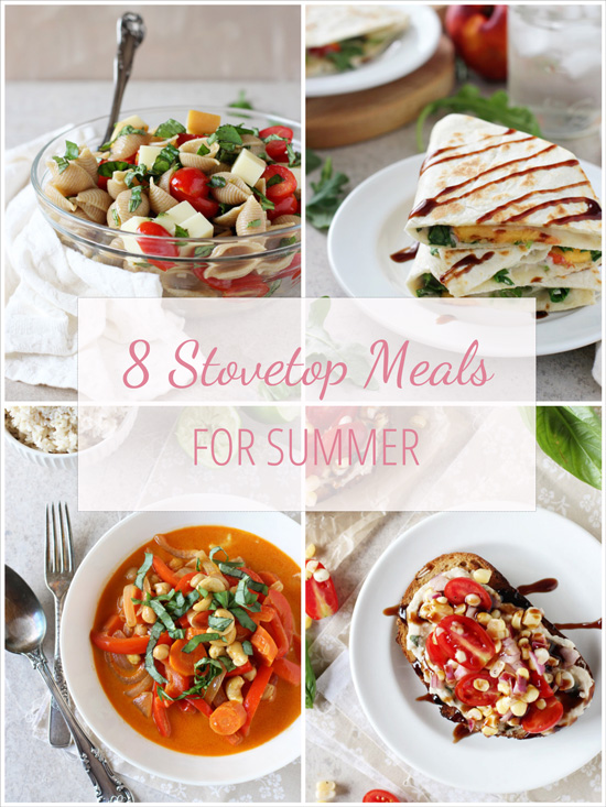 A collage of four photos of Stovetop Meals for summer.