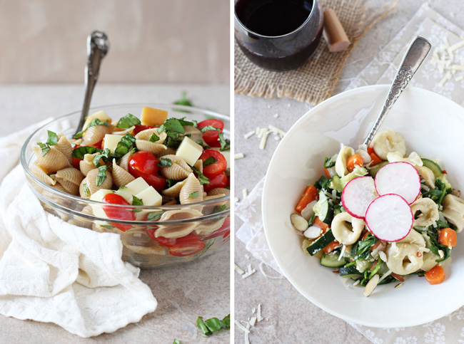 A collage of two photos - caprese pasta salad and vegetable tortellini.