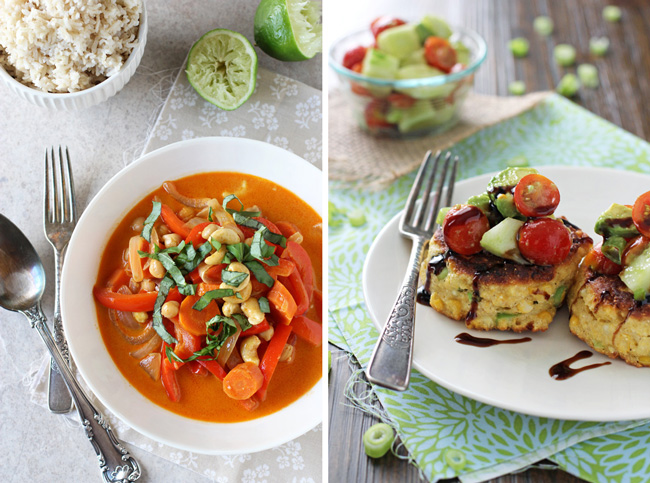 A collage of two photos - thai red curry and corn fritters.
