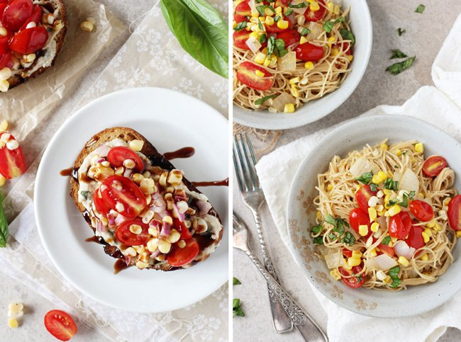 A collage of two photos - open-faced sandwiches and tomato angel hair pasta.