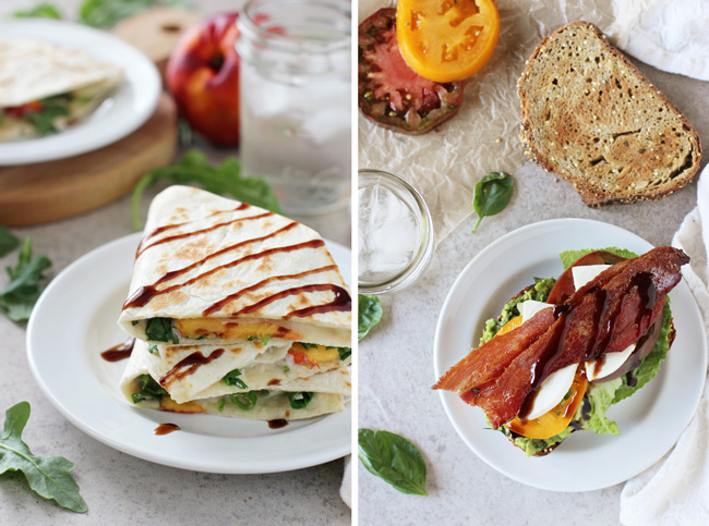 A collage of two photos - white bean quesadillas and caprese BLT.