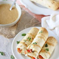 Thai Vegetable Taquitos with Peanut Sauce