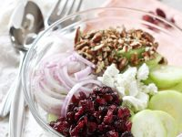 This cranberry pecan cucumber salad is a fresh and simple side dish for fall! Ready in 10 minutes and topped with crumbled goat cheese!