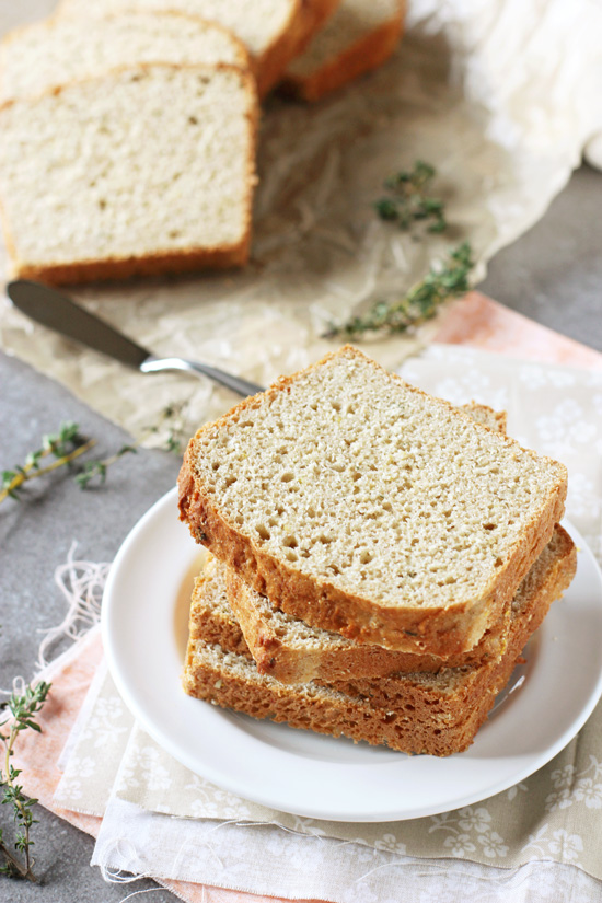 Bright and herby, this lemon thyme english muffin bread makes for the best toast! Simple & no knead, you'll have homemade bread in no time!