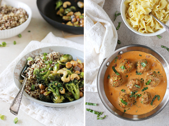 A collage of two photos - winter vegetable teriyaki stir-fry and thai red curry baked vegetable meatballs.