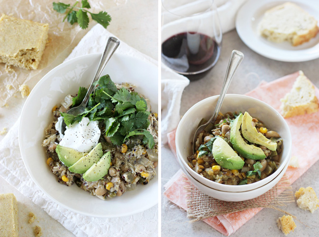 A collage of two photos - green chicken chili and white bean salsa verde chili.