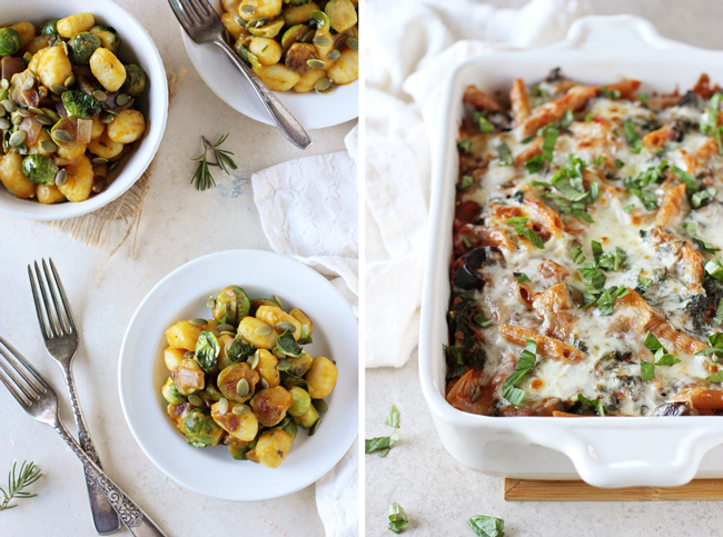 A collage of two photos - pumpkin gnocchi and kale and eggplant baked ziti.