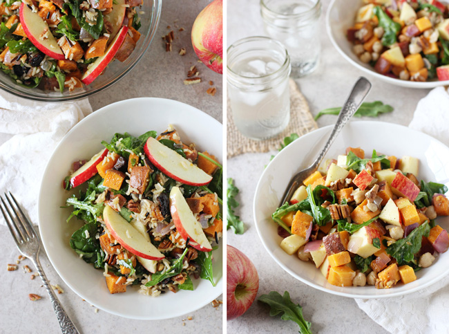 A collage of two photos - harvest sweet potato salad and apple cheddar meal bowls.